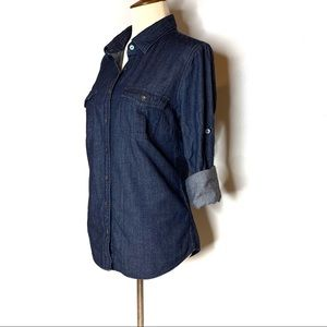 J. CREW DENIM SHIRT BUTTON DOWN SIZE 6 SMALL JEAN